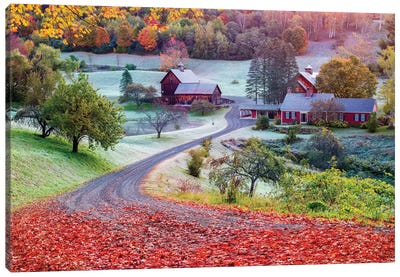 First Cold Morning In Autumn,Farm In Woodstock Vermont New England Canvas Art Print