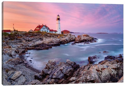 Cape Elizabeth Fiery Sunset,Portland Maine New England Canvas Art Print