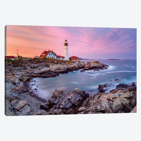 Cape Elizabeth Fiery Sunset,Portland Maine New England Canvas Print #SKR283} by Susanne Kremer Canvas Art Print