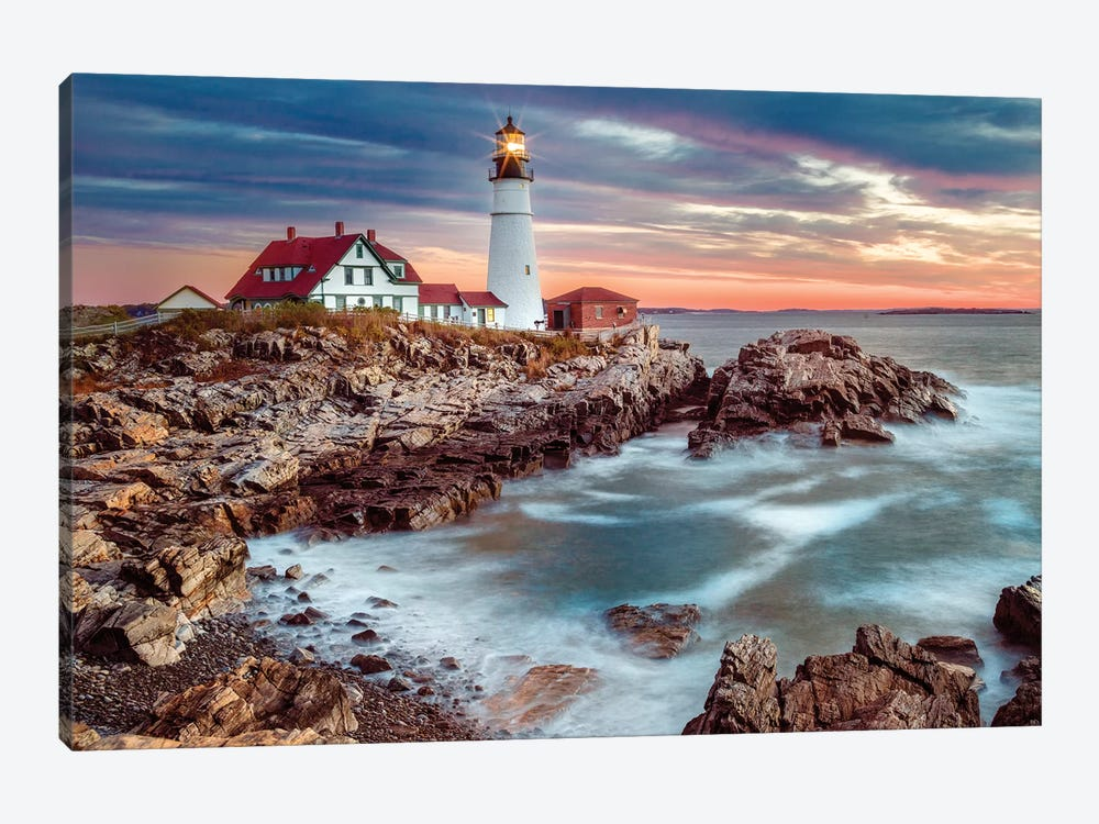 Cape Elizabeth Stormy Sunrise ,Portland Maine New England by Susanne Kremer 1-piece Canvas Art