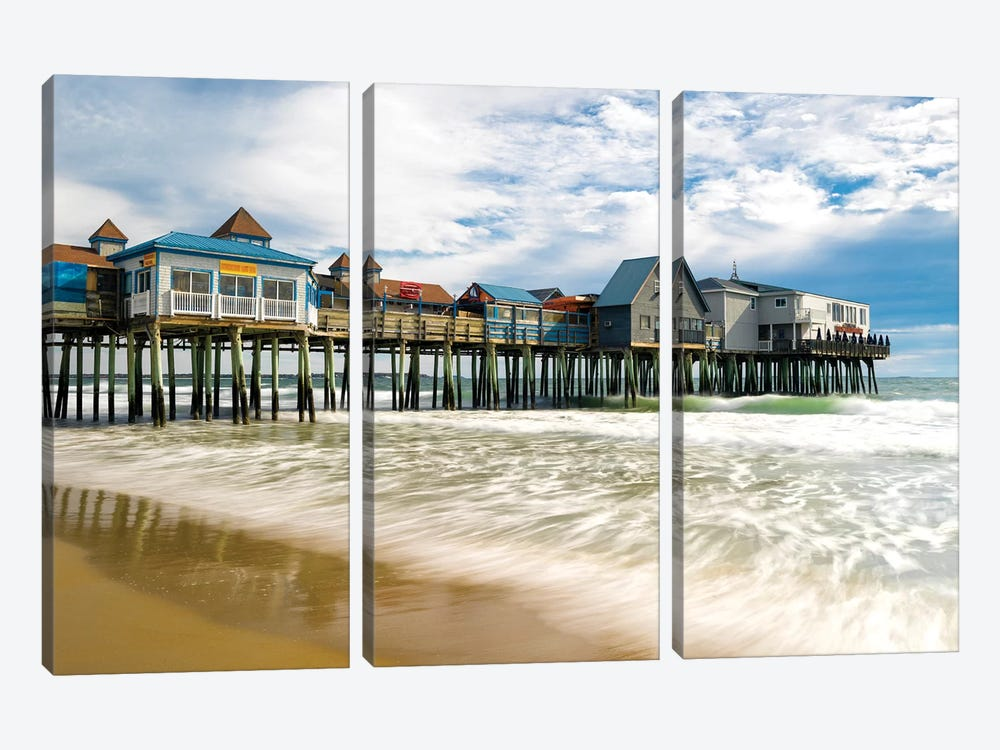 Orchard Beach Pier,Maine New England 3-piece Canvas Print