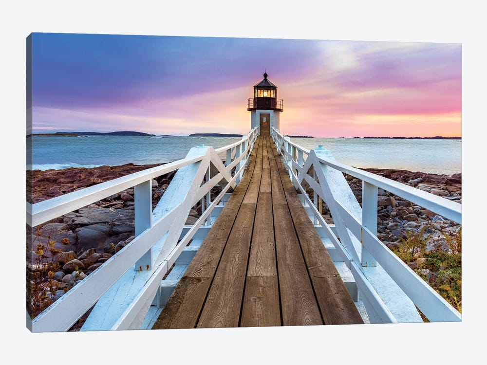 Marshall Pointe Lighthouse Sunset, Port Clyde,Maine by Susanne Kremer 1-piece Canvas Art