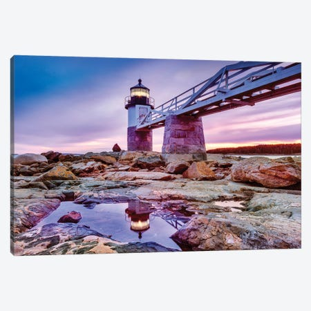 Blue Hour Marshall Pointe Lighthouse Maine Canvas Print #SKR291} by Susanne Kremer Canvas Art