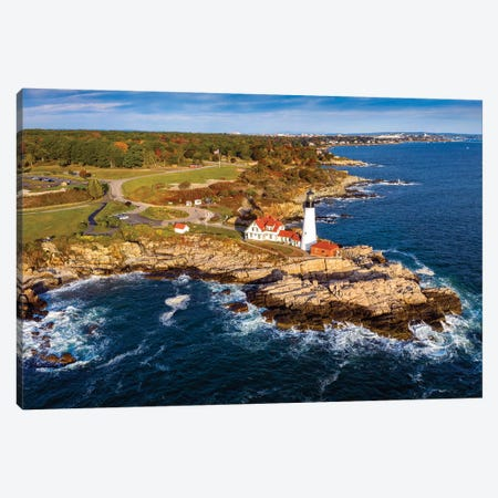 Aerial View Of Lighthouse Cape Elizabeth,Portland Maine Canvas Print #SKR295} by Susanne Kremer Art Print