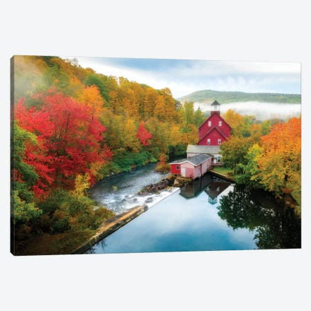 Aerial View Old Mill New Hampshire Canvas Print #SKR302} by Susanne Kremer Canvas Art
