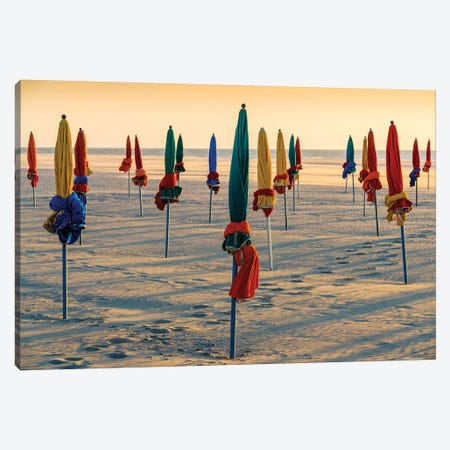 Beach Umbrellas At Sunset In Deauville Normandy France Canvas Print #SKR303} by Susanne Kremer Canvas Art