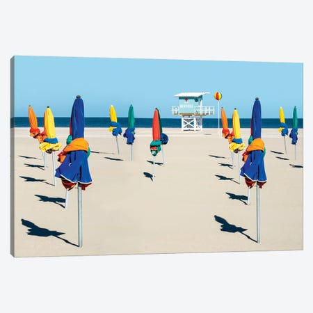 Colorful Beach Umbrellas In Deauville Normandy France Canvas Print #SKR304} by Susanne Kremer Art Print