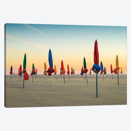 Beach Umbrellas At Sunset Deauville Normandy France Canvas Print #SKR312} by Susanne Kremer Canvas Art Print