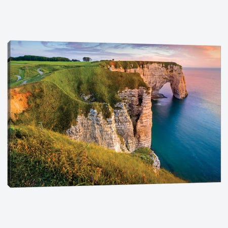 Cliff At Sunset In Etretat Normandy France Canvas Print #SKR313} by Susanne Kremer Art Print