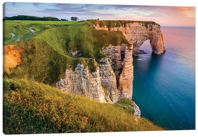 Cliff At Sunset In Etretat Normandy France Canvas Art Print