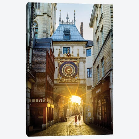 Gros Horologe Historic Clock At Sunset Rouen France Canvas Print #SKR326} by Susanne Kremer Canvas Print