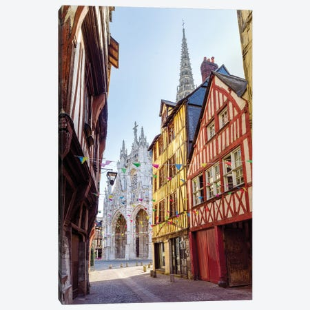 Colorful Houses Historic Center Rouen France Canvas Print #SKR328} by Susanne Kremer Canvas Art