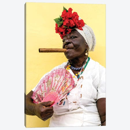 Woman Smoking Cigar In Havana Cuba Canvas Print #SKR329} by Susanne Kremer Canvas Wall Art