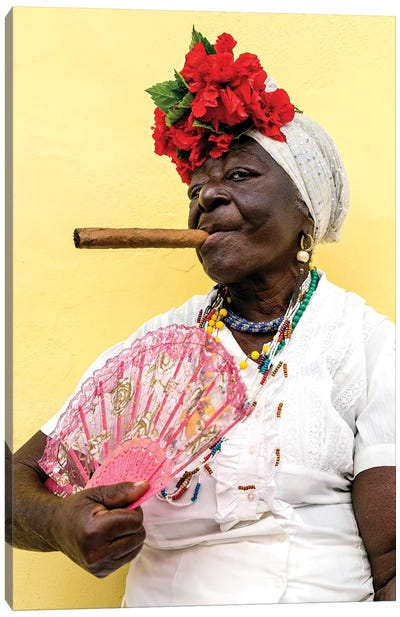 Woman Smoking Cigar In Havana Cuba Canvas Art Print