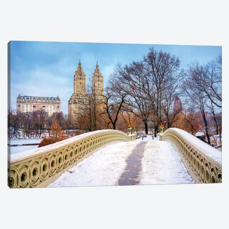 Central Park Snow On Bow Bridge,New York City Canvas Print #SKR334} by Susanne Kremer Canvas Wall Art