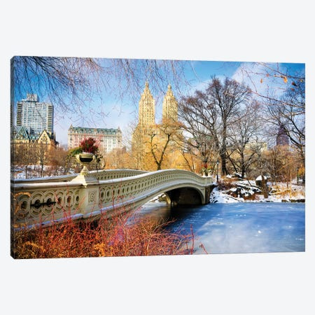 Frozen Central Park Bow Bridge New York City Canvas Print #SKR335} by Susanne Kremer Canvas Artwork