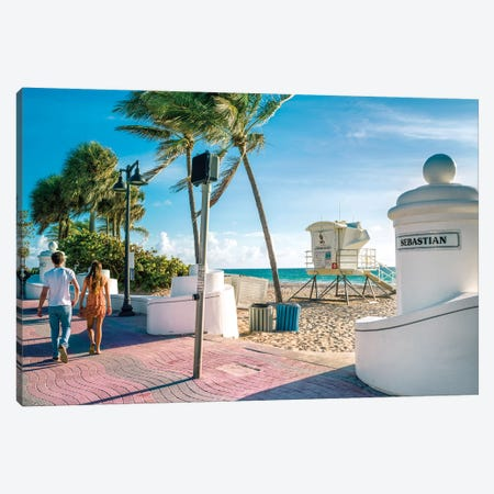 Beach Walks Fort Lauderdale Canvas Print #SKR337} by Susanne Kremer Canvas Art