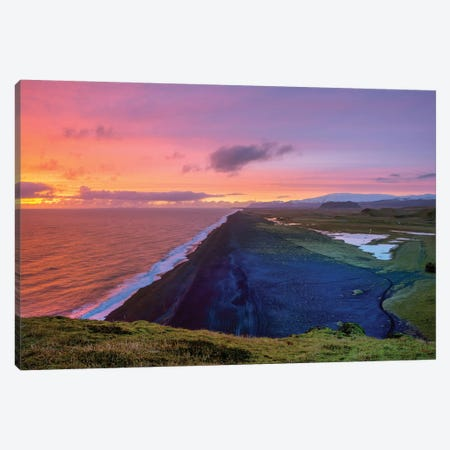 Cape Dyrholaey Sunset  Canvas Print #SKR33} by Susanne Kremer Canvas Art Print