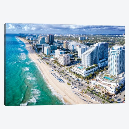 Aerial Panoramic Views Fort Lauderdale Beach Florida Canvas Print #SKR340} by Susanne Kremer Canvas Wall Art