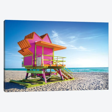 Pink Morning, Miami Beach Florida Canvas Print #SKR345} by Susanne Kremer Canvas Art Print