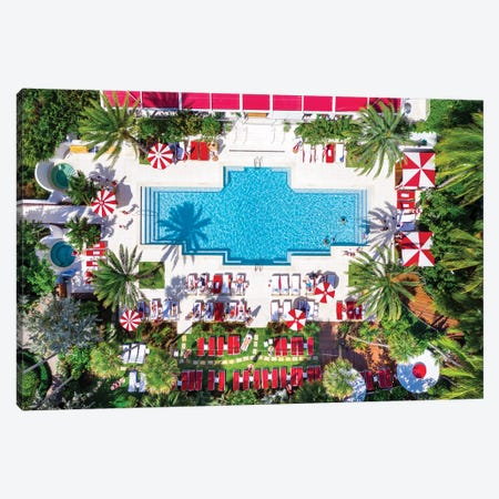 Aerial View Go For A Swim , Miami Beach Pool With Palm Trees ,Florida Canvas Print #SKR349} by Susanne Kremer Canvas Art