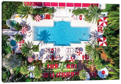 Aerial View Go For A Swim , Miami Beach Pool With Palm Trees ,Florida Canvas Art Print