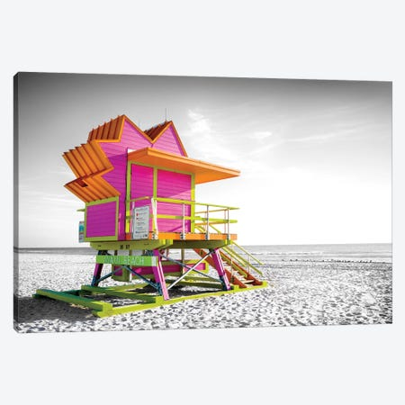 Pink Star,Lifeguard House Miami Beach Florida Canvas Print #SKR350} by Susanne Kremer Canvas Art Print