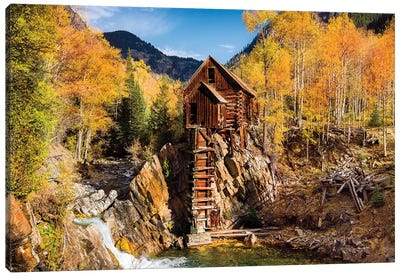 Old Mill In Autumn,Colorado Canvas Art Print