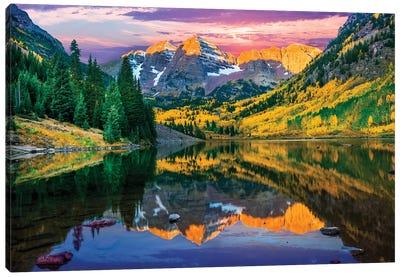 Rise And Shine, Maroon Bells , Aspen Colorado Canvas Art Print