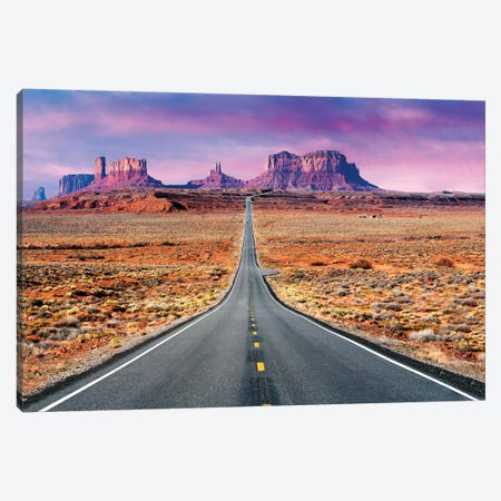 Road To Monument Valley, Sunset Canvas Print #SKR357} by Susanne Kremer Canvas Art