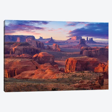 Hunts Mesa Monument Valley Sunset Canvas Print #SKR358} by Susanne Kremer Canvas Art Print