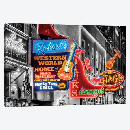 Nashville Broadway Neon Canvas Print #SKR361} by Susanne Kremer Canvas Art