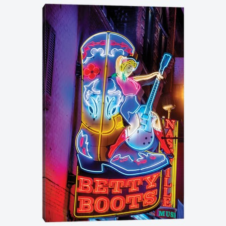 Nashville Broadway Neon Betty Boots Canvas Print #SKR362} by Susanne Kremer Canvas Art