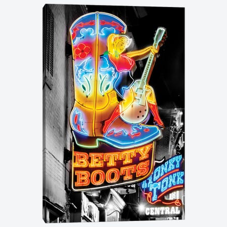 Nashville Broadway Neon Honky Tonk Canvas Print #SKR363} by Susanne Kremer Canvas Art