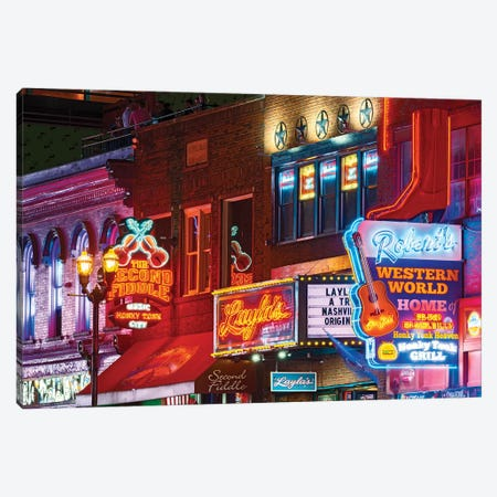 Nashville Neon Nights Canvas Print #SKR364} by Susanne Kremer Canvas Art Print