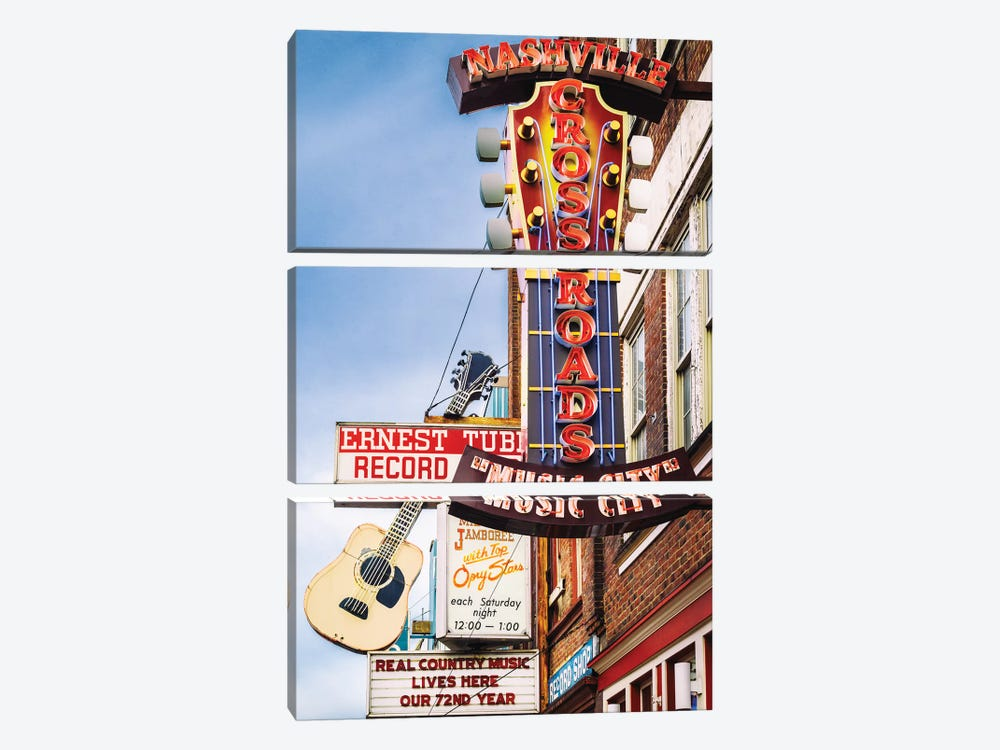 Nashville Music City by Susanne Kremer 3-piece Canvas Wall Art