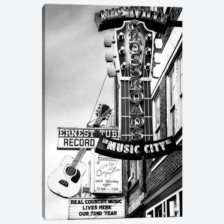 Nashville Music City Black And White Canvas Print #SKR366} by Susanne Kremer Canvas Art Print
