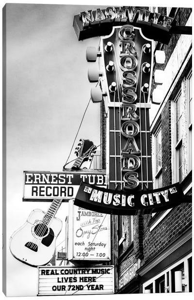 Nashville Music City Black And White Canvas Art Print