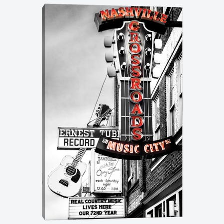 Nashville Music City Red Canvas Print #SKR367} by Susanne Kremer Art Print