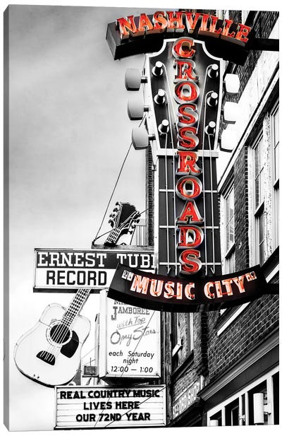 Nashville Music City Red Canvas Art Print
