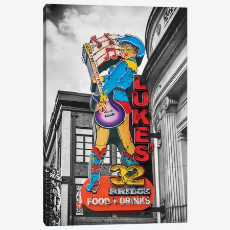 Nashville Lukes Neon Sign Canvas Print #SKR368} by Susanne Kremer Canvas Artwork