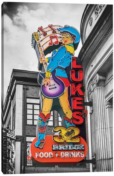 Nashville Lukes Neon Sign Canvas Art Print