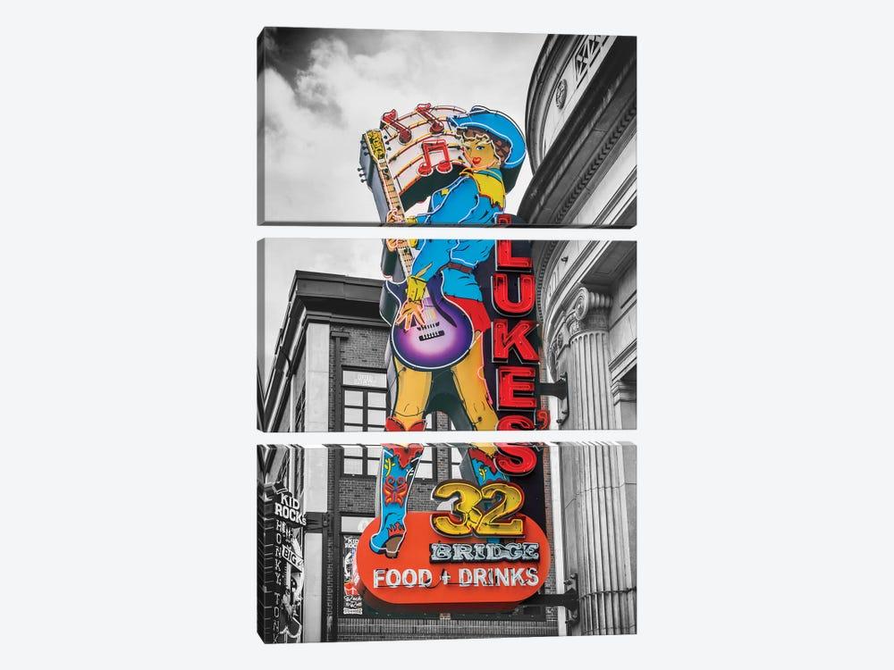 Nashville Lukes Neon Sign by Susanne Kremer 3-piece Canvas Art Print