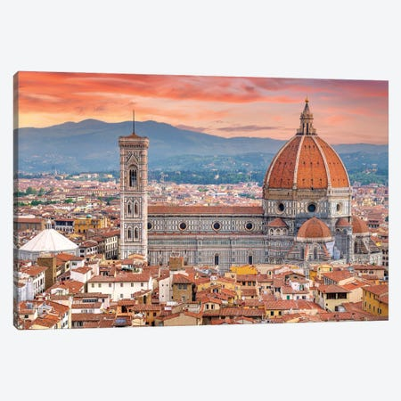 Il Duomo Florence Sunset,Italy Canvas Print #SKR390} by Susanne Kremer Canvas Art Print