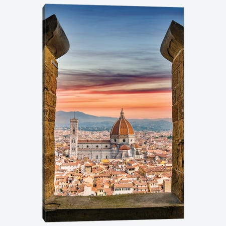 Florence From The Top,Italy Canvas Print #SKR391} by Susanne Kremer Art Print
