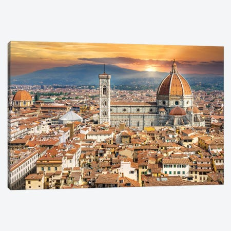 Golden Light Florence Il Duomo,Italy Canvas Print #SKR392} by Susanne Kremer Art Print