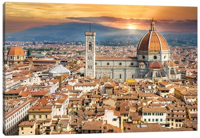 Golden Light Florence Il Duomo,Italy Canvas Art Print
