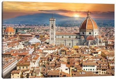 Golden Light Florence Il Duomo,Italy Canvas Art Print