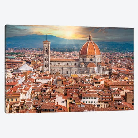 Dramatic Sunset Behind Il Duomo Florence Italy Canvas Print #SKR394} by Susanne Kremer Canvas Artwork