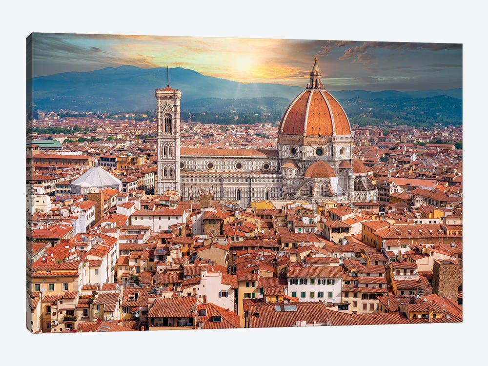 Dramatic Sunset Behind Il Duomo Florence Italy by Susanne Kremer 1-piece Canvas Wall Art